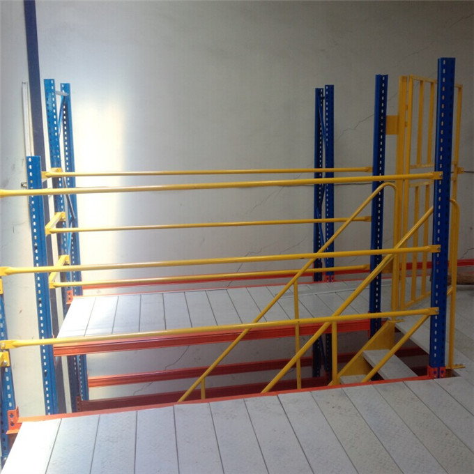 Stair case for high density mezzanine floors racking