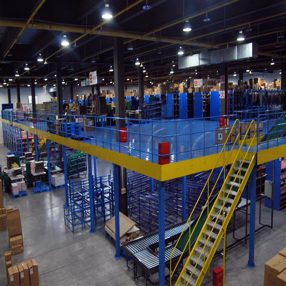 Multi-tier powder coating warehouse storage rack system Q235 steel mezzanine flooring with CE
