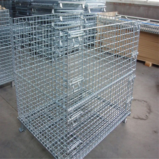 Foldable Galvanized Pallet Container Industrial Stackable Wire Mesh Storage Cage